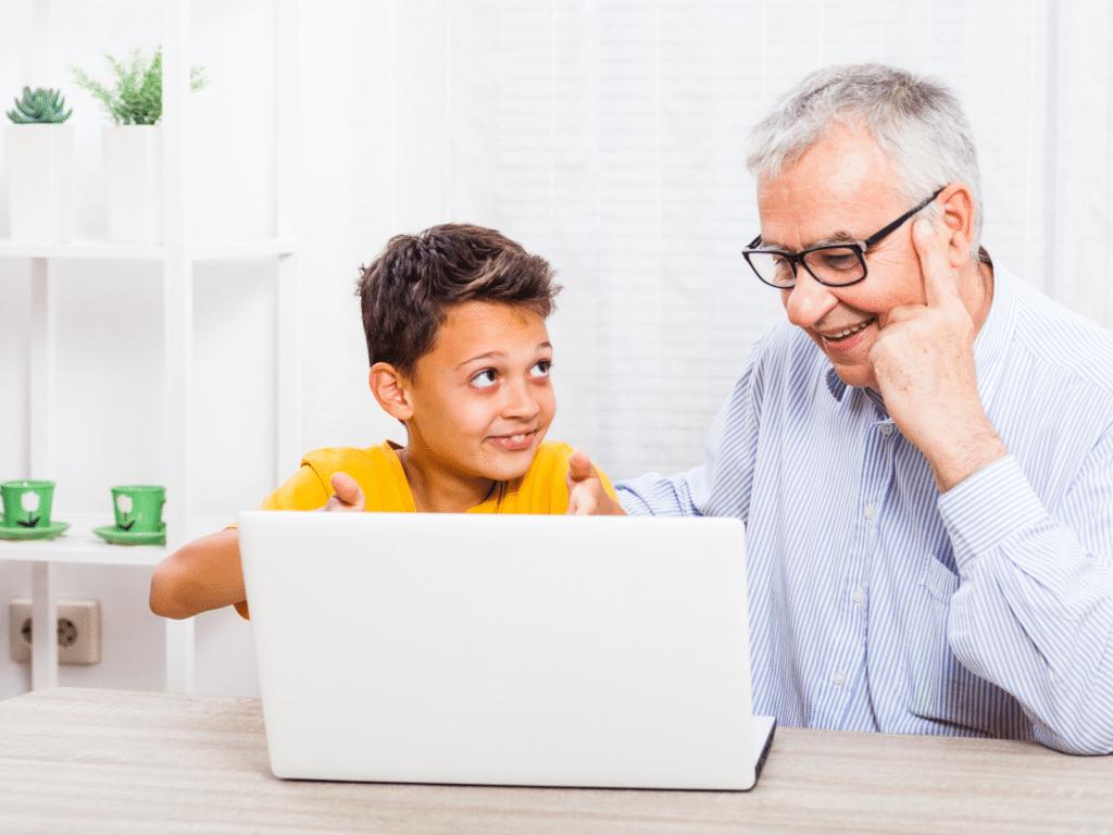 Parent and child navigating virtual classroom tools
